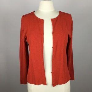Eileen Fisher Viscose Cardigan Red Orange M